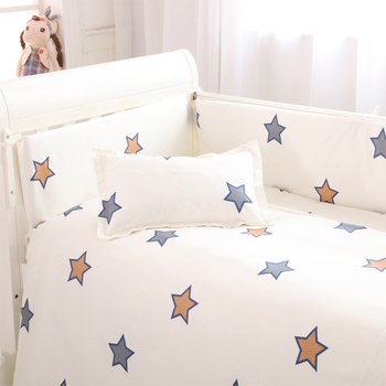 (4 bumpers+1 sheet )5 pcs / set baby crib bumpers bed sheet bedding set cotton bed around protection star Giraffe rabbit design