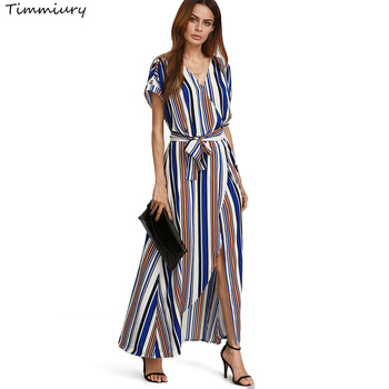 Timmiury summer long beach dress striped v-necl полосатый шифон party dress женщины короткие рукава прямо 2017 vestidos mujer