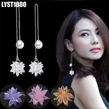 LYST1000 Fashion 925 Sterling Silver Jewelry For Women Ice Flower Pearl Long Stud Earrings Top Quality