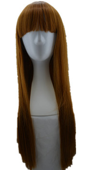 Fei-Show Straight Hair Synthetic Heat Resistant Fiber Long Yellow Blonde Women Female Hairpiece Fringe Bangs Cos-play Wigs