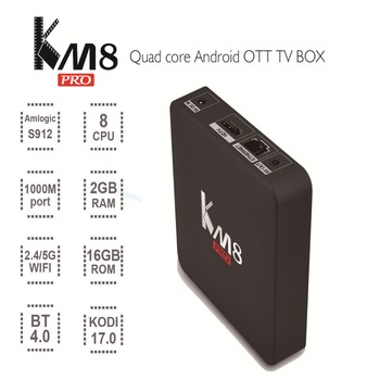 Новинка 2016 года KM8 Pro ТВ коробка Android 6.0 Amlogic S912 Octa core 2 ГБ/16 ГБ 2.4 г/5 г Wi-Fi IP ТВ Европа Умные телевизоры box media player