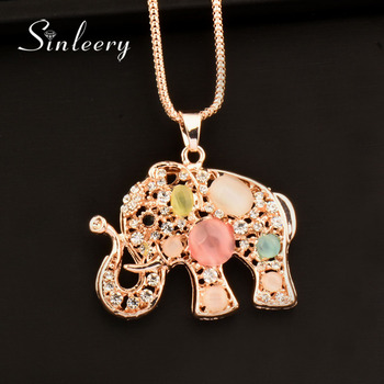 SINLEERY Boho Lucky Multicolor Opal Elephant Animal Pendant Women Long Necklace Chain Statement Necklace Accessories My319